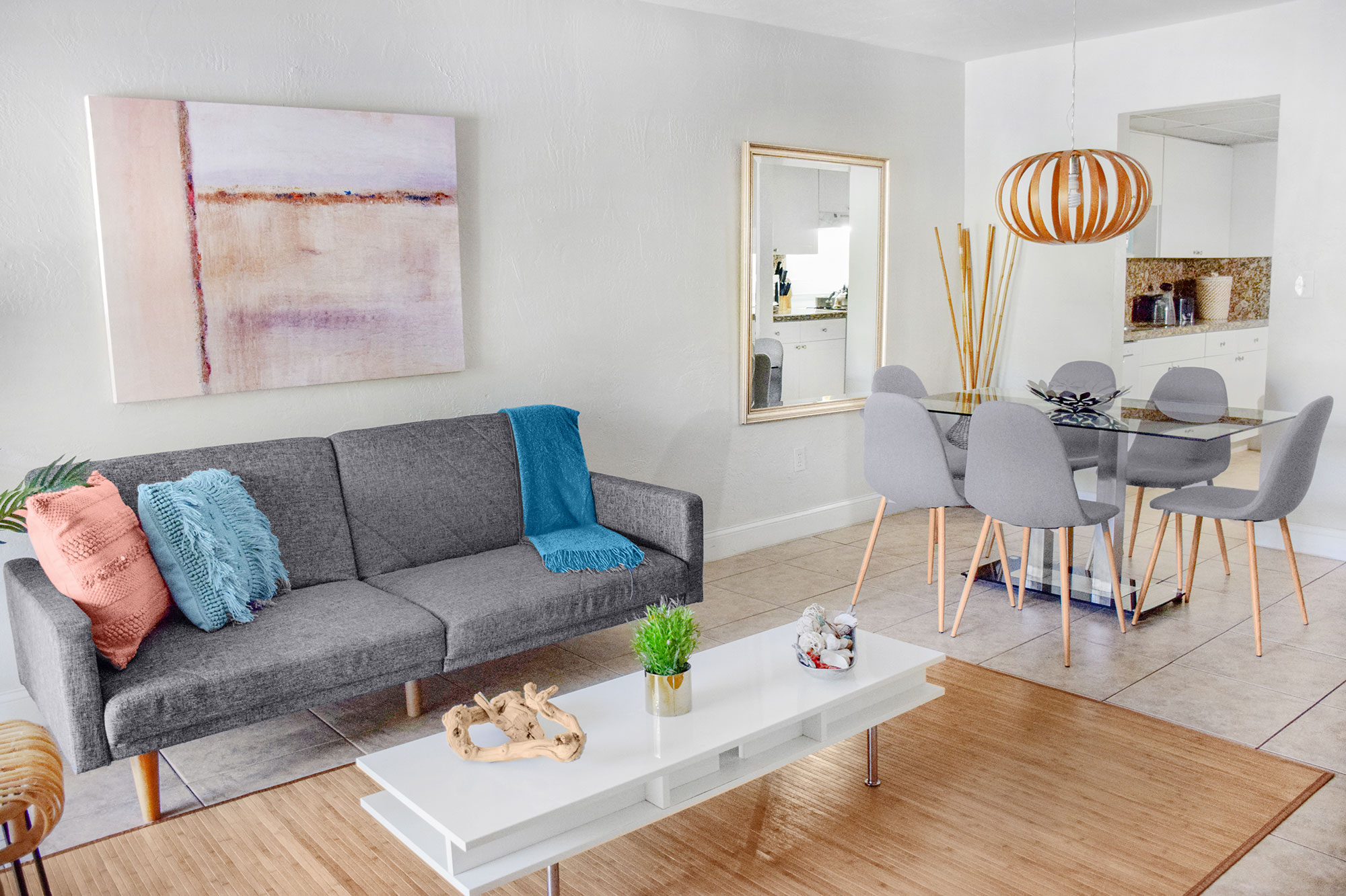 Living Room of renovated 2 bedroom apartment at Coral Reef